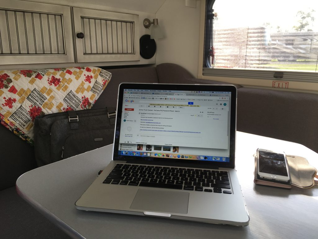 When raised up, the table provides the perfect spot for blogging -- and other such things.