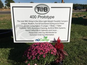 Some of the features of the new TAB 400 prototype are detailed on the sign welcoming visitors to the model.
