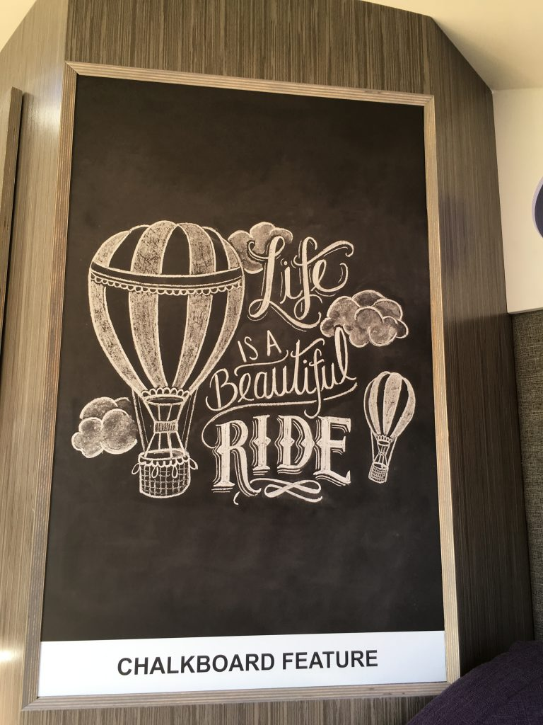 Life is a beautiful ride in the TAB 400! And that's the message on the large chalkboard inside.