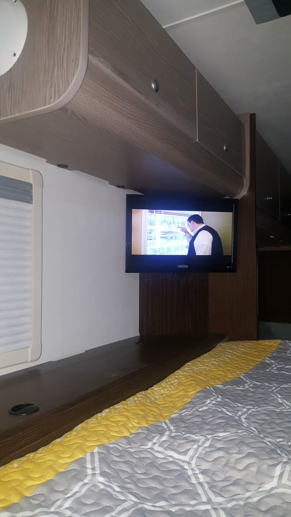 Corner Mounted TV in the Cabover in the Cirrus 920 Truck Camper